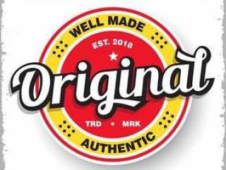 产品标志与复古风格的原始标签徽章