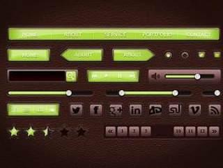 皮革风格UI设计PSD分层