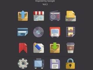 Google手机APP方形扁平化彩色物体创意图标设计素材合集(三)
