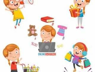 小女孩购物的传染媒介例证