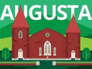 奥古斯塔城地标。奥古斯塔格鲁吉亚明信片插图。
