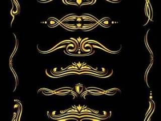 金色的华丽矢量边框和角落元素