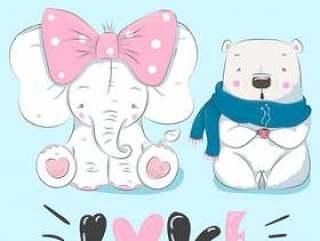 手拉逗人喜爱的大象和熊的动画片