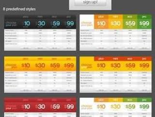 价格展示表格psd素材