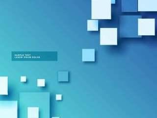与3d正方形作用的抽象蓝色背景