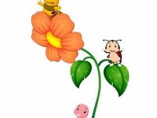 三只昆虫在花上