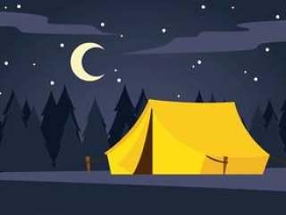安静的夜间营地