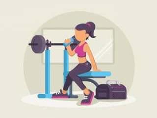 在健身房里的时尚健身教练