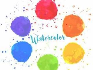 彩虹颜色水彩油漆污渍