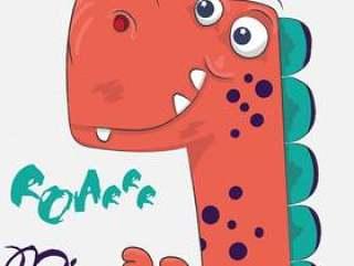 手拉逗人喜爱的恐龙的动画片