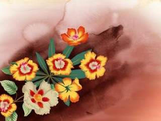 水彩花朵系列psd素材