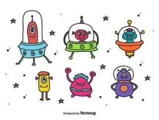 太空外星人和怪物矢量
