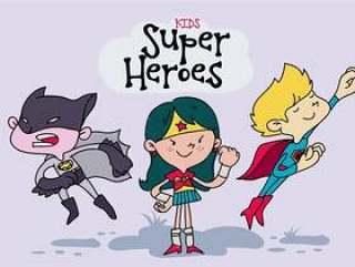 孩子们服装超级英雄矢量图