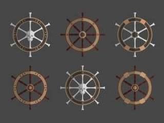 船轮集合矢量图