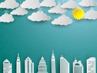 摩天大楼和云彩在白皮书艺术设计