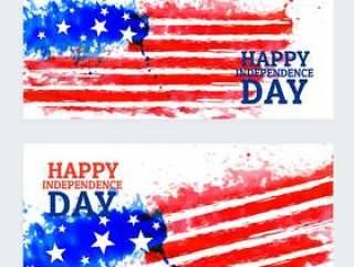 美国独立日横幅与水彩旗帜