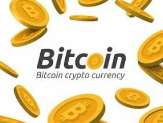 黄金比特币在白色背景上签名