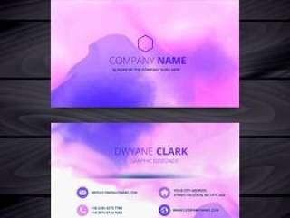多彩的水彩墨水风格名片模板设计