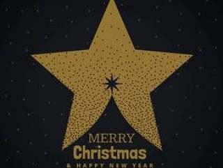 用星星做的金色圣诞树设计