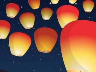 在晚上传染媒介例证的天空灯节