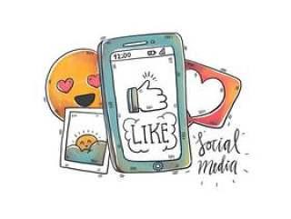 水彩的社交媒体元素和电话