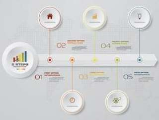 5 steps timeline infographics element chart.