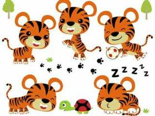 Vector set of cute little tiger and friend