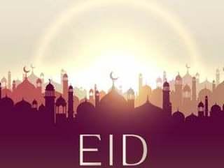与清真寺剪影的eid穆巴拉克卡片