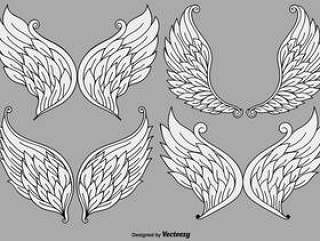 向量组的卡通天使的翅膀