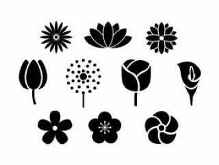 鲜花剪影图标矢量