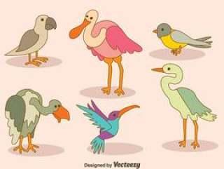 卡通鸟集合矢量