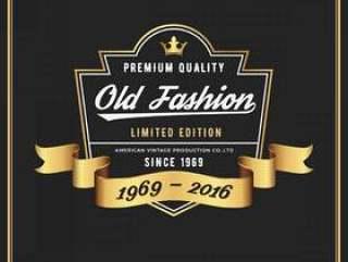 旧时尚框架&服装威士忌葡萄酒牛仔裤的标签设计