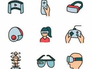 套虚拟现实经验的被乱画的象