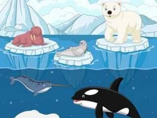 在北极的动画片狂放的北极动物