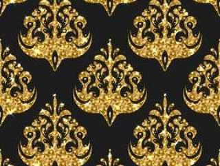 金色闪光无缝模式。矢量背景与锦缎o