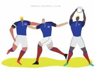 法国世界杯足球字符平面矢量图