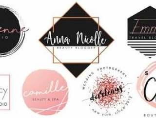女性标志设置黑色,粉红色和金色