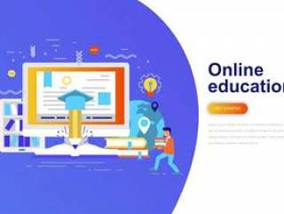 在线教育现代平概念web横幅网页模板矢量素材下载