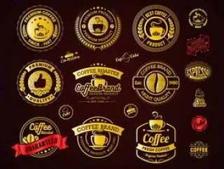 金色咖啡标志徽章和标签元素
