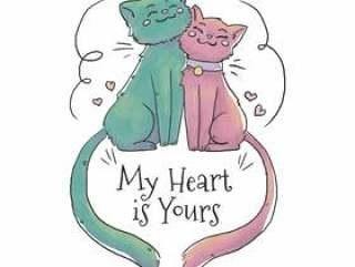 可爱的猫夫妇爱上浮动的心