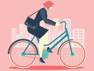 酷女性商人骑自行车到办公室