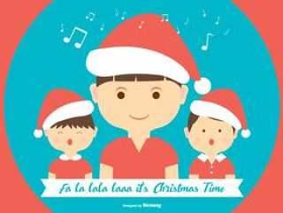 可爱的圣诞颂歌平插图