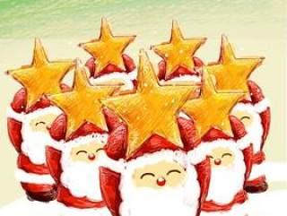 {举星星的可爱圣诞老人}PSD