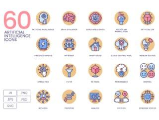 人工智能图标集为您的Web,应用程序,营销传播和演示文稿设计,60人工智能图标|奶油糖果系列