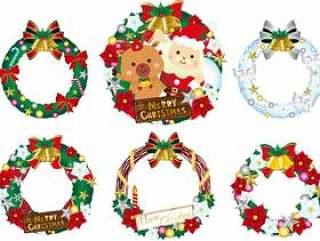 圣诞花环插画集合