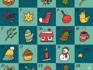手绘圣诞月月历
