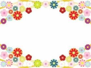 菊花和樱花,梅花的上下框架