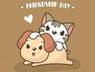 与逗人喜爱的狗和猫例证的友谊天背景