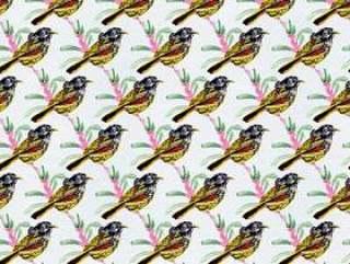 矢量鸟与叶子图案