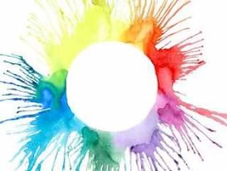 多色水彩一滴飞溅手剪影传染媒介